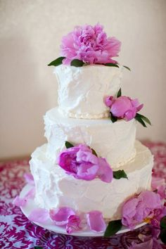 """Very pretty rustic-style cake with fresh peonies.  That's a delicate little 4"""", 6"""" and 8"""" tiered cake."""