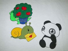 One-of-a-kind hand-painted Dino & Panda t-shirt from my series of 100 T-shirts back in 2012.   Dino is too shy to personally deliver a love letter to Panda so he gets his pet snail to do it for him! Size: Extra Large