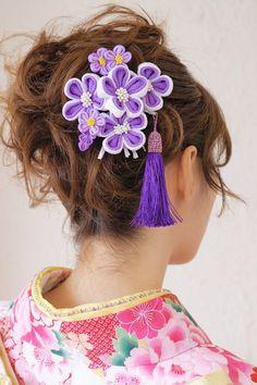 [成人式や卒業式などお着物にオススメ!可憐なつまみ細工髪飾り]紫/房紐/縮緬/ビラ/振袖の通販はDeNAショッピング - BISOU