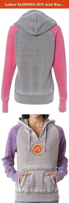 "Ladies SLEEPING SUN Acid Wash Burnout Hoodie, 2XL Cement/Very Berry. A mix of color, blended with burnout, take this pullover to new heights. Superior Cotton/Poly blend. Modern ""burnout"" style. Cut ""v"" neckline."