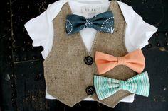 Baby Boy Anchor Button Vest Onesie tweed tan Bow Tie Nautical Onesie Set Bodysuit
