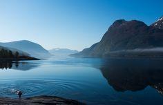 Me having a morning dip at Imarbu (a cabin in the Norwegian tourist organisation) in Møre og Romsdalen, Norway.