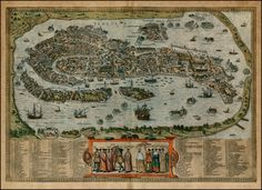 Old antique bird's-eye view plan of Venice (Venezia) by Braun & Hogenberg Vintage Wall Art, Vintage Walls, Venice Map, Venice Italy, Don Quixote, Antique Maps, Historical Maps, Old Antiques, 16th Century