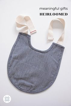 Sweet and simple design paired with sturdy fabrics make these the cutest bibs around. With two versions, choose our ecru Canvas or 10-oz Railroad Stripe cotton, or select the pair for the perfect gift set. Newborn Baby Gifts, New Baby Gifts, Baby Presents, Baby Bibs Patterns, Quilt Patterns, Keepsake Baby Gifts, Baby Sewing Projects, Sewing Ideas, Bib Pattern