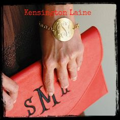 Glam Gold Bracelet $30 and Red Envelope Monogrammed Clutch $31.95  -  Amazing gifts...www.kensingtonlaine.com  Additional colors available in the clutch