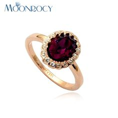 MOONROCY Free Shipping Zirconia Jewelry Wholesale Rose gold Color Austrian Crystal Rings Fashion Ring for Women Gift