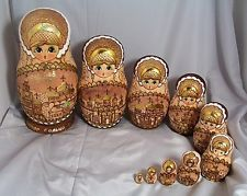 """Russian Burnt Wood 10 count Large 10"""" Nesting Dolls with Gold"""
