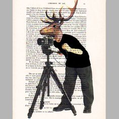 Photographer deer - ORIGINAL ARTWORK Hand Painted Mixed Media