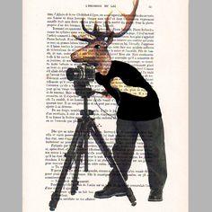 Photographer deer - ORIGINAL ARTWORK Hand Painted Mixed Media