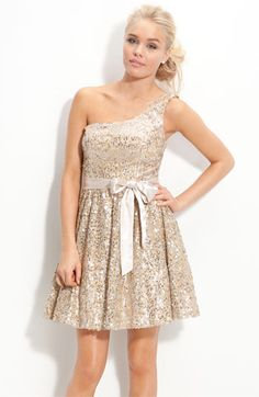 One Shoulder Sequin Sash Dress $74