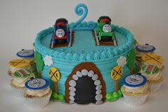 Thomas and Percy 2nd Birthday Cake and Cupcakes