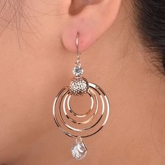 Elegant Big Rose Gold Plated Round Hoop Earrings Layers Hook Eardrop Crystal