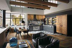Une cuisine salon de style industriel