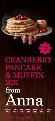 Gluten-Free Cranberry Pancake & Muffin MixThe taste and texture of this pancake and muffin mix are exceptional. Small pieces of cranberry throughout intensify every bite. Make the gluten-free and allergen-free pancakes or muffins for a. Pancake Muffins, Pancakes And Waffles, Gluten Free Desserts, Gluten Free Recipes, Yummy Snacks, Yummy Food, Yeast Free Breads, Muffin Mix, Bread Mix