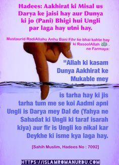 """Hadees: Aakhirat ki misal us Darya ke jaisi hay aur Dunya ki jo (pani) Bhigi hui Ungli par laga hay itni hay.   Mustaurid RadiAllahu Anhu Bani Fihr ke bhai kahte hay ki RasoolAllah Sallallahu Alaihi wa Sallam ne Farmaya: """"Allah ki kasam Dunya Aakhirat ke Mukable mey is tarha hay ki jis tarha tum me se koi Aadmi apni Ungli is Darya mey Dal de (Yahya ne Sahadat ki Ungli ki taraf isarah kiya) aur fir is Ungli ko nikal kar Deykhe ki isme kya laga hay.  [Sahih Muslim, Hadees No : 7092]"""