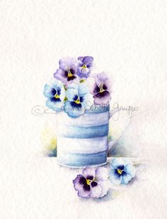Watercolor Art Print Watercolor Painting Blue by thewhitebenchart
