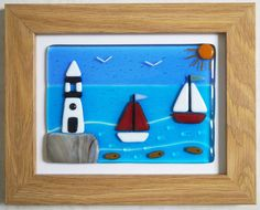 Fused Glass Wall Art Framed Picture Lighthouse and by Jewlls4u