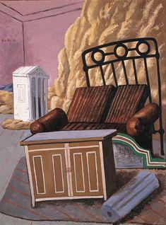 """Giorgio de Chirico (Italian, 1888-1978) - """"Furniture in a room"""", 1927 - Museo Carlo Bilotti, Rome (Italy)"""