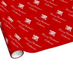 Merry Christmas wrapping paper with custom name.