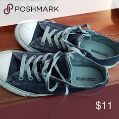 Converse low top Navy white grey shoe strings Converse Shoes Sneakers
