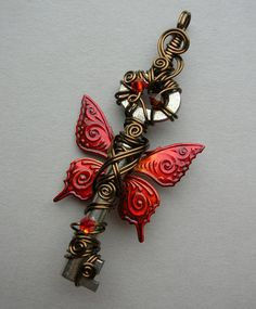 Red Butterfly Winged Key Pendant -- Red/Orange Flame Inked Patterned Butterfly Winged Wire Wrapped Antique Key with Swarovski Crystals