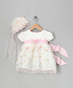 This White & Pink Embroidered Dress & Bonnet - Infant, Toddler & Girls is perfect! #zulilyfinds