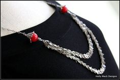 Long silver double strand leaf chain necklace by HollyMackDesigns, $86.00