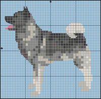 Gråhund Afghan Patterns, Knitting Patterns, Cross Stitch Embroidery, Cross Stitch Patterns, Dog Chart, Knitted Mittens Pattern, Norwegian Elkhound, Puppy Day, Hama Beads Patterns