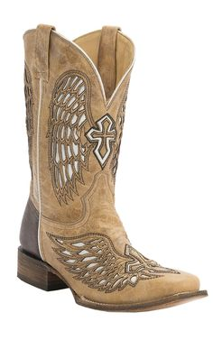Corral® Men's Antique Saddle Tan with White Inlay Winged Cross Square Toe Cowboy Boots