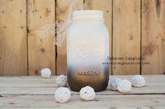 Ombre Quart Ball Mason Jar Wedding Centerpiece Bouquet Vase Metallic Bronze Cream