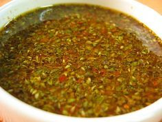 Chimichurri Sauce - Scott and I make this for our beef and portabello mushroom fajitas Mexican Dishes, Mexican Food Recipes, Ethnic Recipes, Pesto Dip, Bbq Catering, Peruvian Recipes, Dips, Love Food, Salsa Verde