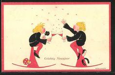 Künstler-AK Kerckhoff: Liebespaar stösst mit Sekt an, Fliegenpilz, Neujahr 0