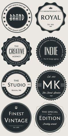 Vintage Logo Badges Set Inspiration for Retromatic Logo Inspiration, Logo Branding, Branding Design, Badge Design, Label Design, Logo Circulaire, Photoshop, Logo Rond, Kreis Logo