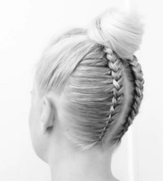 Braids to messy top bun by Letitia Booth Dance Hairstyles, Braided Hairstyles, Short Hairstyles, Love Hair, Gorgeous Hair, Updos For Medium Length Hair, Hair Due, Braided Updo, Hair Lengths