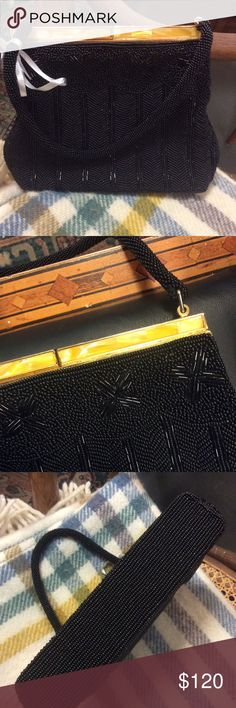 🌈Handbeaded Vintage Mother of Pearl Handbag Smoke free home. Fully lined in black with a slide pocket. Snap top golden metal closure. Beaded handle. No missing beads. Mosaic style shell top. Classic black tie event or Galla accessory. Prom or wedding. Shot handle. R00005588887653 New Years classy look ***CONSIGNED ITEM FIRM PRICE*** Vintage Bags Mini Bags