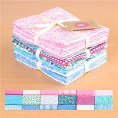 Oxford Pink Oxford Blue and Pastel Patchwork Jade 100 Percent Cotton Fat Quarters Oxford Blue, Fat Quarters, Jade, Sewing Projects, Decorative Boxes, Pastel, Quilts, Fabric, Pink