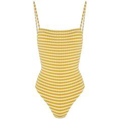Solid and Striped The Chelsea Mustard Stripe Rib ($220) ❤ liked on Polyvore featuring swimwear, one-piece swimsuits, ribbed one piece swimsuit, sexy swimsuits, sexy one piece bathing suits and striped one piece swimsuit