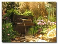 Fantasy piano garden waterfall