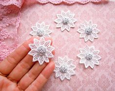 6 Druzy sparkly flowers, Lace jewellery appliques, White lace flower appliques, Shabby chic sparkly lace appliques, Christmas lace appliques