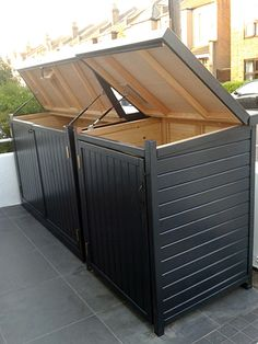 Standard Gallery from The Bike Shed Company Trash Can Storage Outdoor, Outdoor Trash Cans, Outside Storage, Garbage Can Shed, Garbage Can Storage, Storage Bins, Bin Storage Ideas Wheelie, Hide Trash Cans, Trash Bins