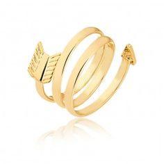 Anel de falange seta folheado em ouro 18k - AN85C3246