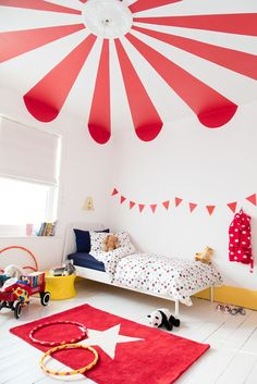 Give your kid's bedroom a circus theme with big top stripes on the ceiling. Circus Room, Circus Theme, Nursery Room, Kids Bedroom, Nursery Decor, Babies Nursery, Red Kids Rooms, Bedroom Themes, Bedroom Decor
