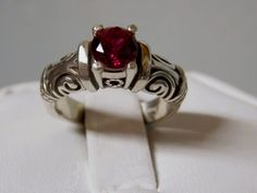 1ct blood red ruby antique 925 sterling silver ring size 9.5 USA made #Solitaire