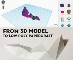 Materials:PaperPrinterGlue/tapeScissors/Exacto knifeComputer with Internet accessSoftware: Tinkercad (online) and 123d Make (free download)Someone on Reddit posted a question about how to make low poly papercrafts. Their example was of a mountain range. For the purposes of this Instructable, I'm going with super simple everyday materials and free, simple to use software. This is a very basic prototype that shows technique and took me about an hour total from 3d modeling to final...