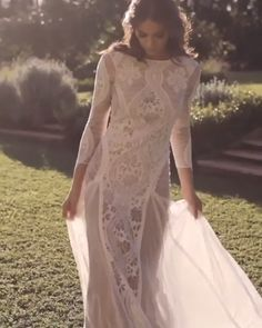 "Stunning Embroidered Lace Backless Sheath Wedding Dress / Bohemian Bridal Gown with Long Sleeves, Open Back and a Train. Dress by Grace Loves Lace wedding dresses videos Grace Loves Lace ""Inca"" Open Back Wedding Dress, Wedding Dress Trends, Bohemian Wedding Dresses, Princess Wedding Dresses, Dream Wedding Dresses, Wedding Lace, Crochet Wedding Dresses, Bohemian Weddings, Bohemian Bride"
