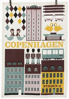 Illustration of Copenhagen in Denmark. (Copenhagen, København, Danmark, Danish, Denmark, travel, Europe, city, capital, visit, beautiful)