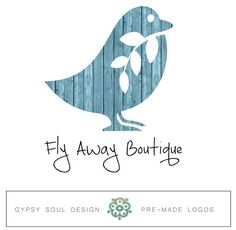 Wood Plank Bird Boho Logo - Premade Logo, Custom Logo Design, handmade, rustic, photography, fashion boutique, typography, vintage logo