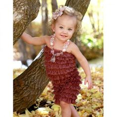 Chocolate Mousse Baby Lace Romper