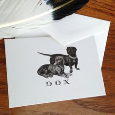 Dachshund Monogrammed or Personalized Stationery - Set of 12, 100% Cotton Savoy - $15.00