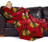 NHL Chicago Blackhawks Adult Comfy Throw Blanket with Sleeves 48 x 71 Inch 100% Polyester Machine Washable Made of soft, thick, luxurious fleece with oversized loose fitting sleeves, the Comfy Throw, Officially Licensed NHL Blanket by Northwest lets shoulders, arms and legs.